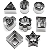 AUTIDEFY Cookie Cutters Set - Metal Stainless Steel Mini Geometric Shapes Dessert Pastry Cutters,for Kitchen,Baking,Halloween& Christmas,Set of 24