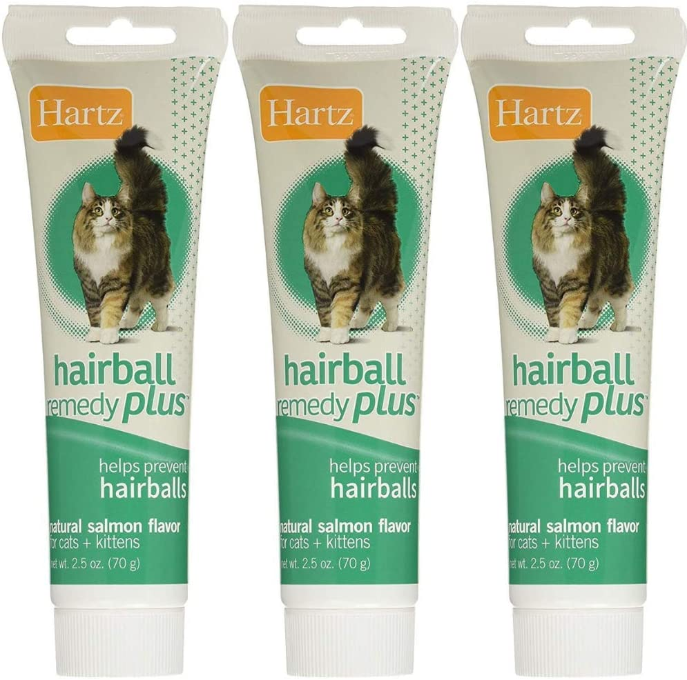 Hartz Hairball Remedy Plus Salmon Flavored Paste for Cats and Kittens (Pack of 3) (Salmon, 3)