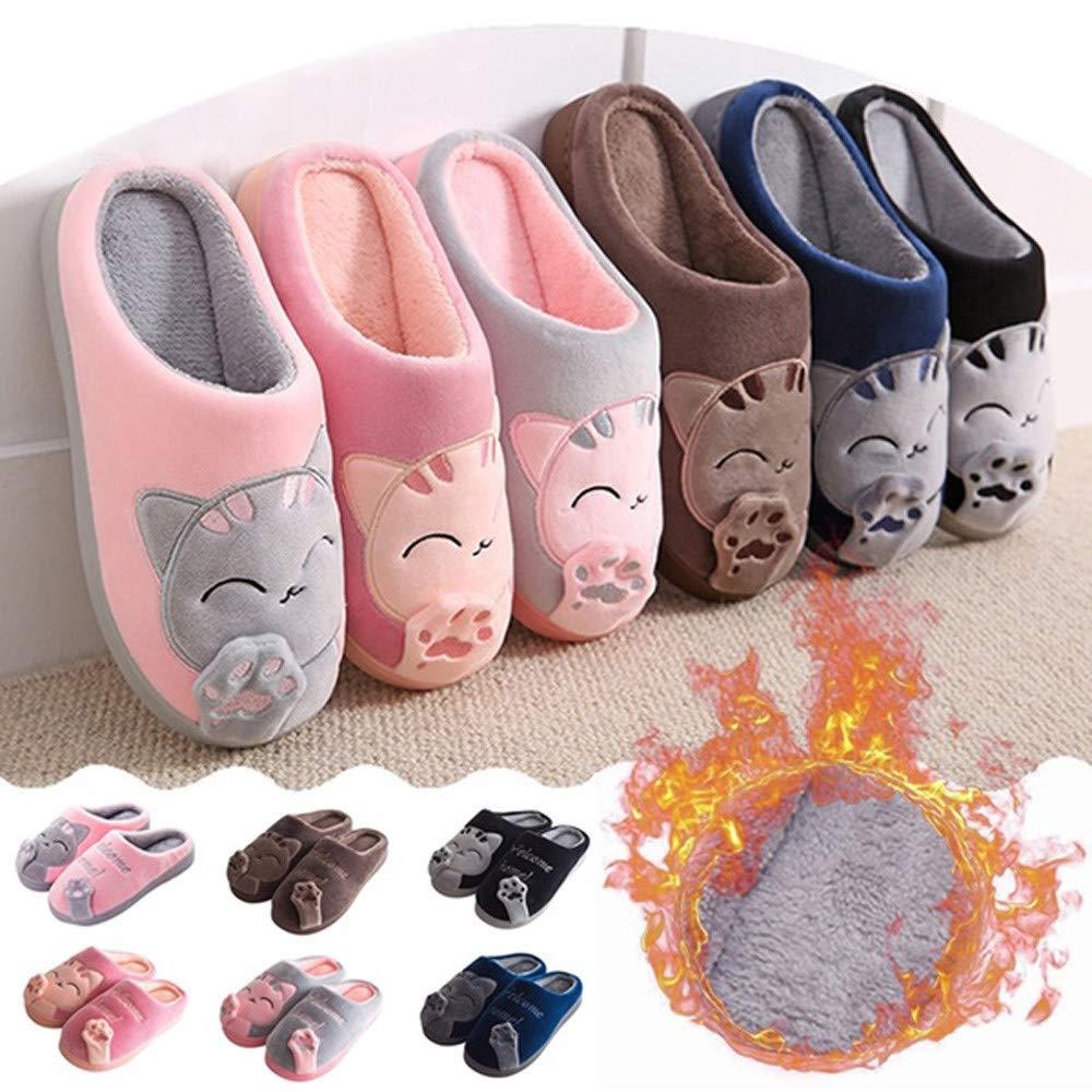Qiwind Women Winter Home Slippers Cartoon Cat Warm Comfortable Non-slip Slippers Anti Slip
