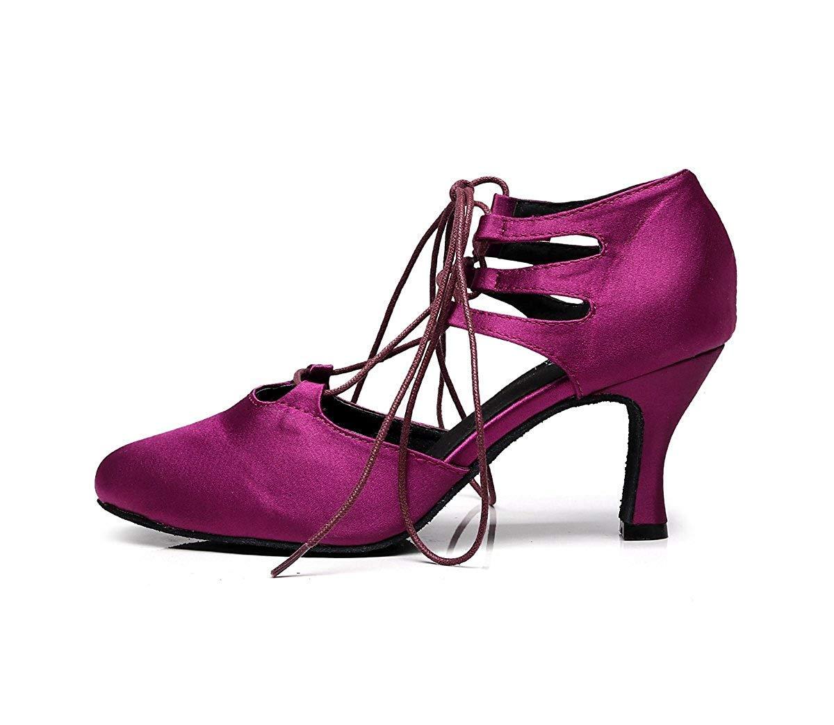 Qiusa TJ7137 Damen Mädchen Lace-up Satin Tango Latin Tanzschuhe Tanzschuhe Tanzschuhe Abend Pumps (Farbe   lila-7.5cm Heel Größe   2 UK) 82b978