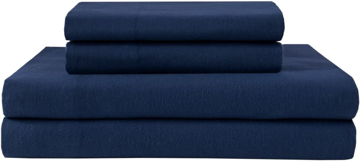 Elite Home Products Deep-Pocketed Winter Nights 100% Cotton Flannel Sheet Set, King, Indigo