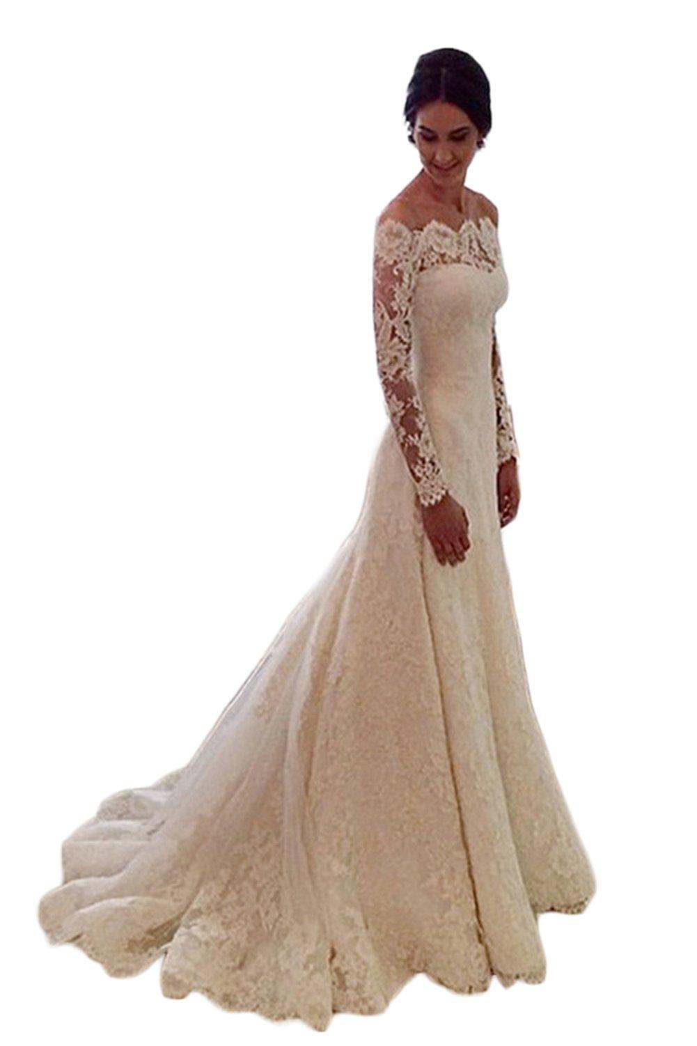 Mathena Women's Long Sleeve Off Shoulder Lace Long Mermaid Bride Wedding Dress US 14 Ivory by Mathena