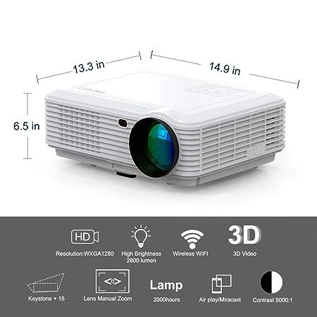 Proyector con 4500 Lux, Estuche Portátil Y Cable HDMI, Compatible ...