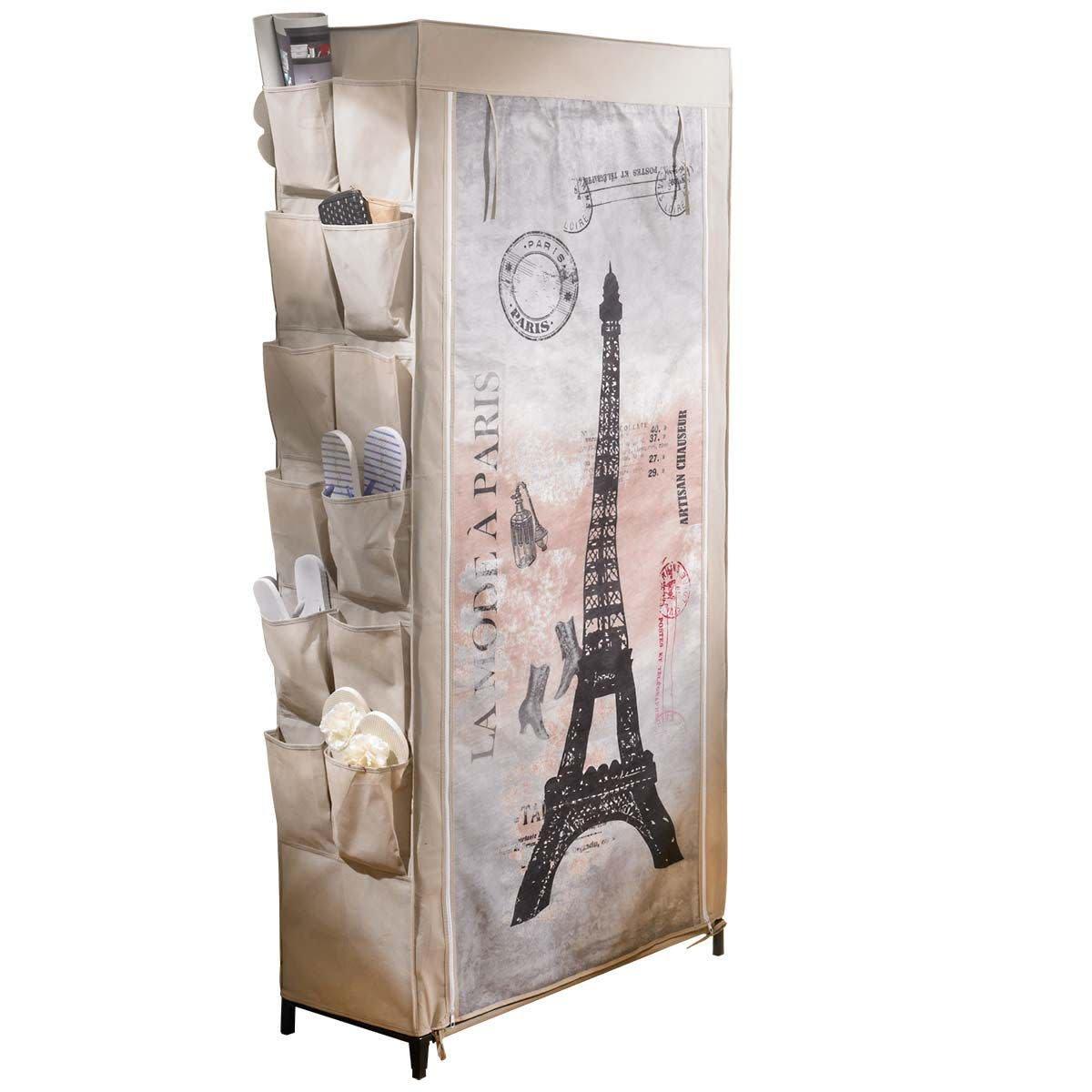 PuROTay Schuhregal Schuhschrank Paris Motiv ca. B80 x T30 x H170 cm Metallgestell Vlies-Verkleidung