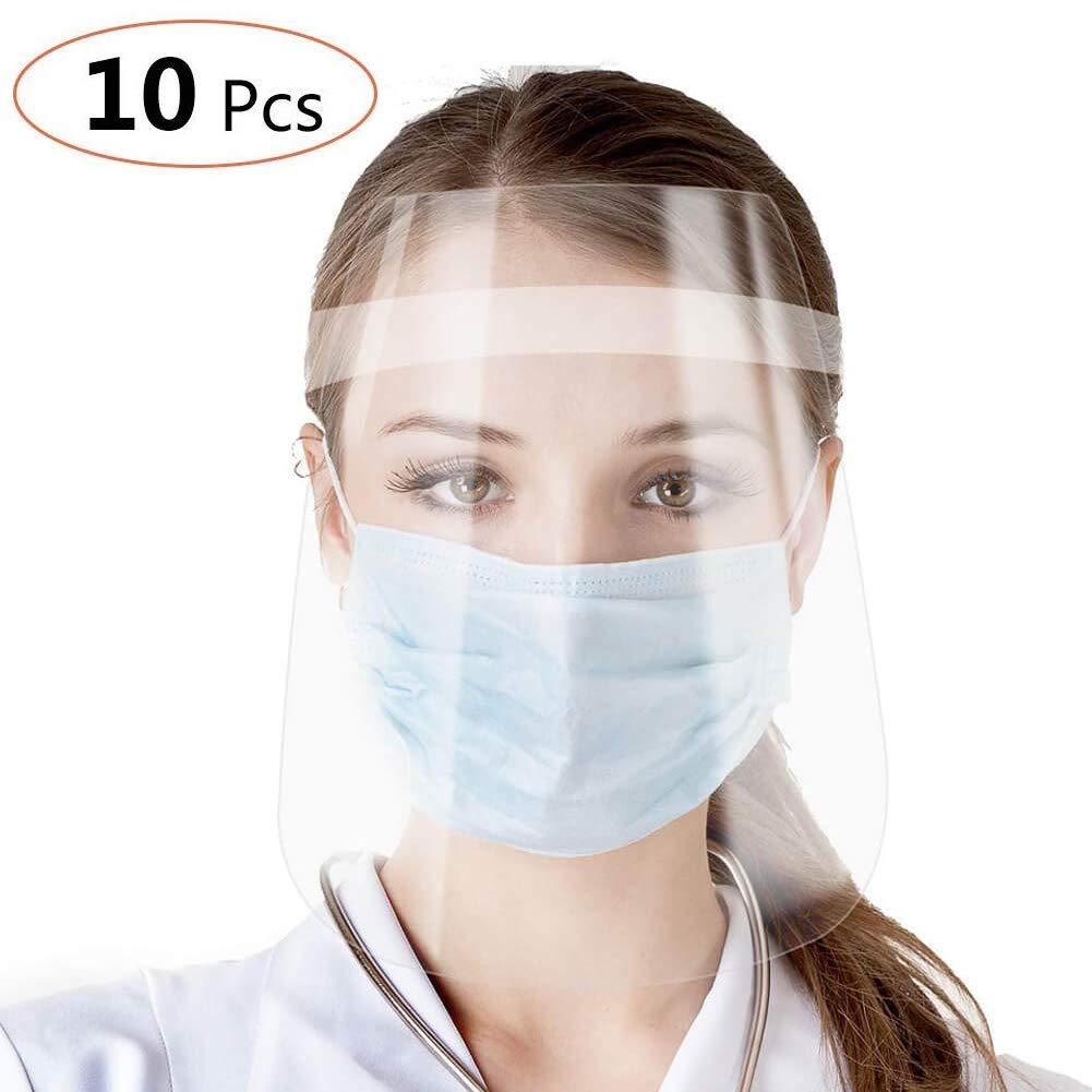 10 piezas Viseras Protectoras para la Cara, plástico Ligero, antiniebla, antifuma, reutilizables, unisex,Gafas De Seguridad Transparente