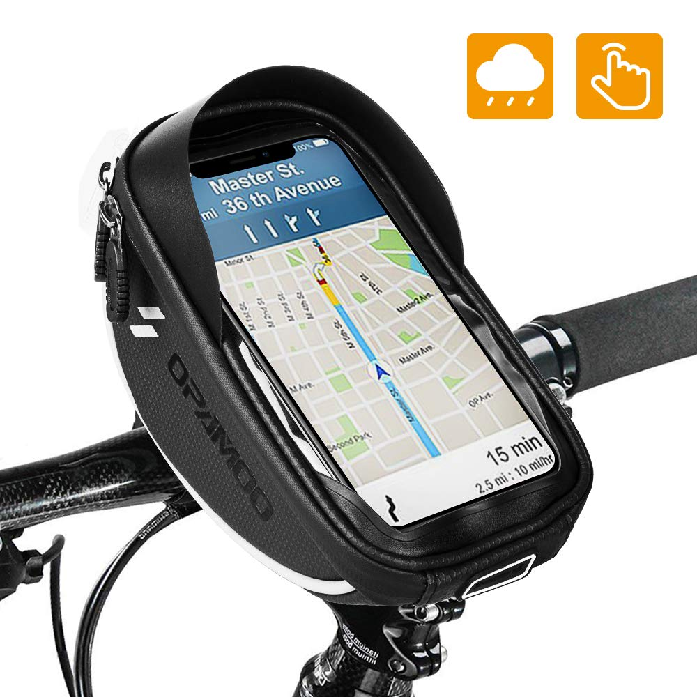 Bike Bicycle Phone Mount Bags - Waterproof Front Frame Top Tube Handlebar Bags with Touch Screen Phone Holder Case Sports Bicycle Bike Storage Bag Cycling Pack Fits iPhone 7 8 Plus xs max