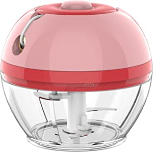 Mini Garlic Chopper, Manual Kitchen Chopper with stainless steel blades Food Processor for Nut Onion Ginger
