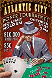 Atlantic City - Poker Tournament Vintage Sign (36x54 Giclee Gallery Print, Wall Decor Travel Poster)