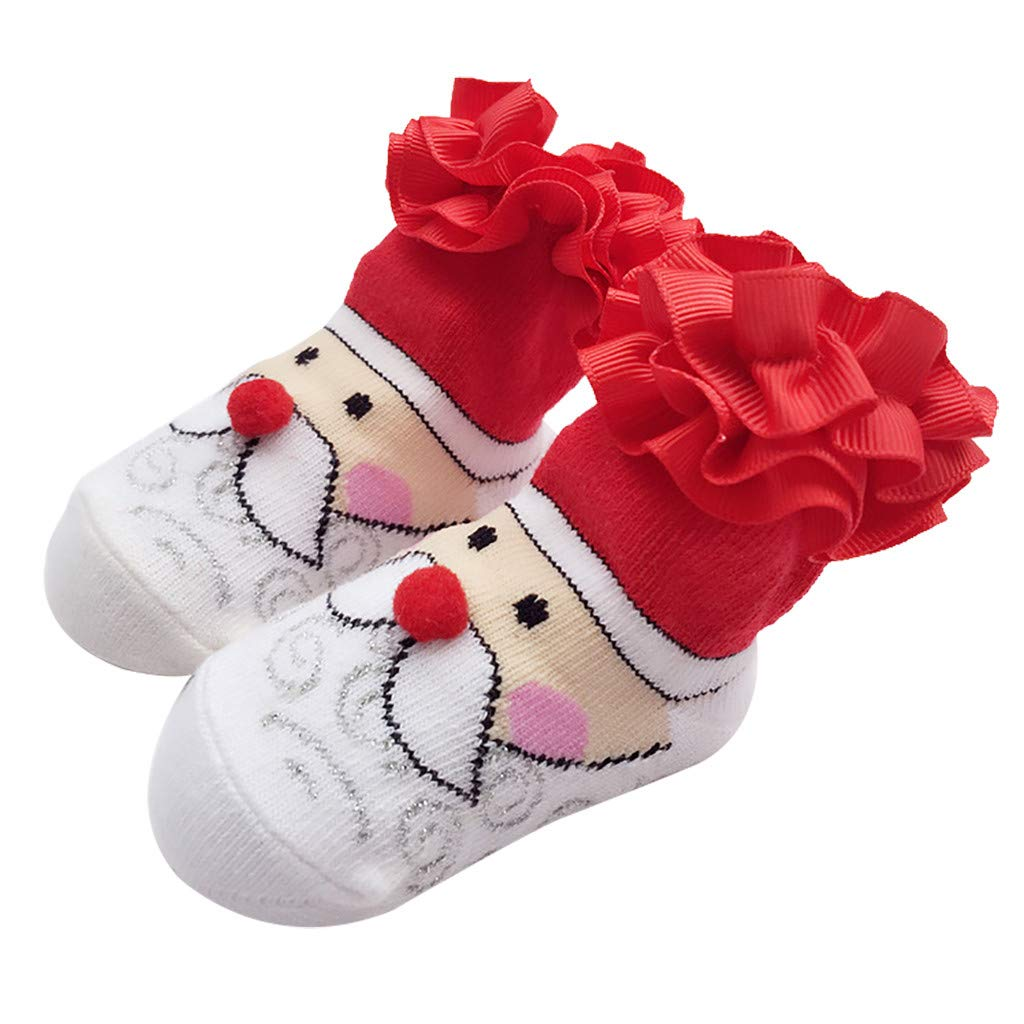 Hunputa Cozy Cotton Flower Pearl Bowknot Lace Jane Socks with Grip for Newborn Infant Baby Girl 0-24 months