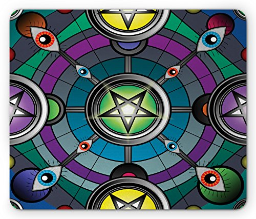 Ambesonne Occult Mouse Pad, Digital Alchemical Extra Sensory Esoteric Pure Evil Eyes Mystic Graphic Artwork, Standard Size Rectangle Non-Slip Rubber Mousepad, Multicolor ()
