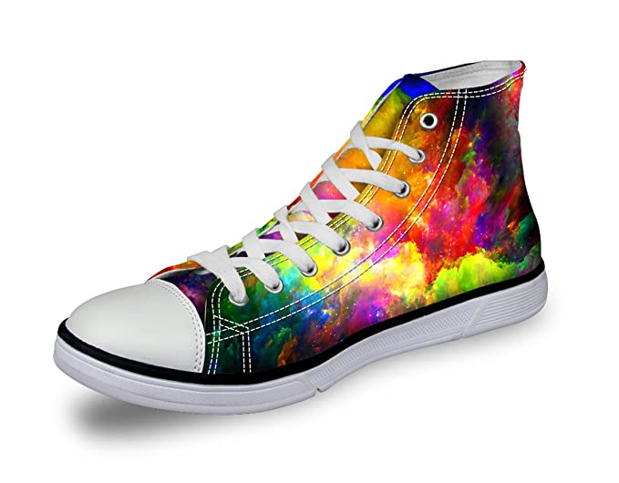 6d819defc3101 Galaxy Print Canvas Trainers Women High Top Fashion Sneaker Starry Skate  Shoe