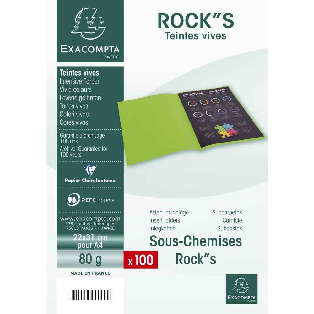 R/éf citron Paquet de 100 Sous-Chemises ROCKS 80-22x31cm 800011E Exacompta
