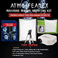 AtmosfearFX Macabre Manor SD Media Card Ultimate Haunting Kit, Includes Translusent Screen, Hologram Screen With Stand Kit and Free Tripod