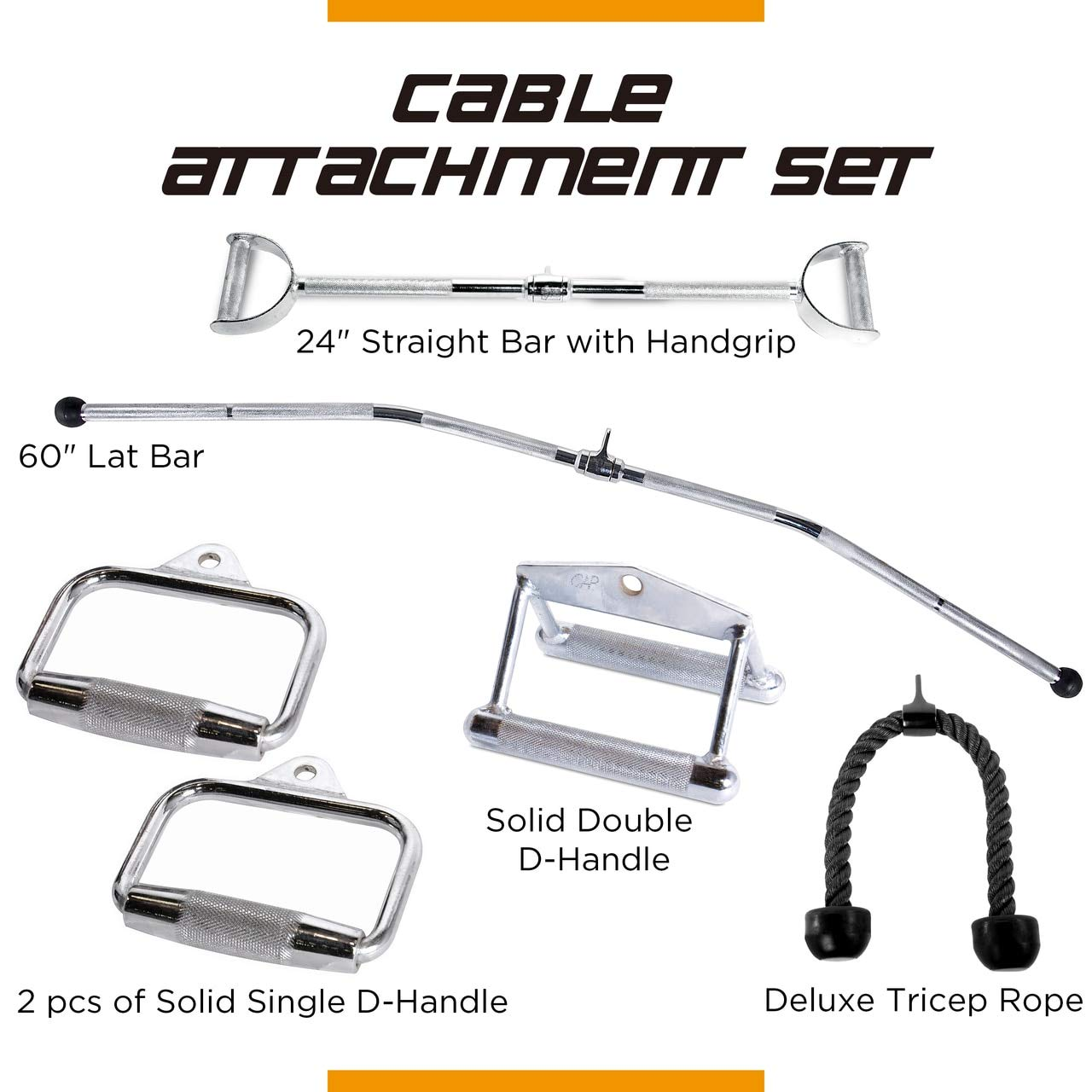 CAP Barbell 60'' LAT Bar & 24'' Pro-Style LAT Bar with Revolving Hanger & Double D-Shaped Attachment 2pc Solid D-Shaped Attachment & Triceps Press Down Rope Attachment Set