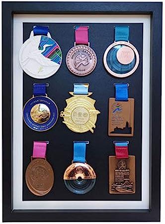Guoc Marco de Medalla Caja expositora Insignias Madera Maciza Caja exhibición medallas Marco para exhibir medallas,Medalla de Deportes Cuadro en 3D Marcos de Fotos,Marco para exhibir medallas: Amazon.es: Hogar