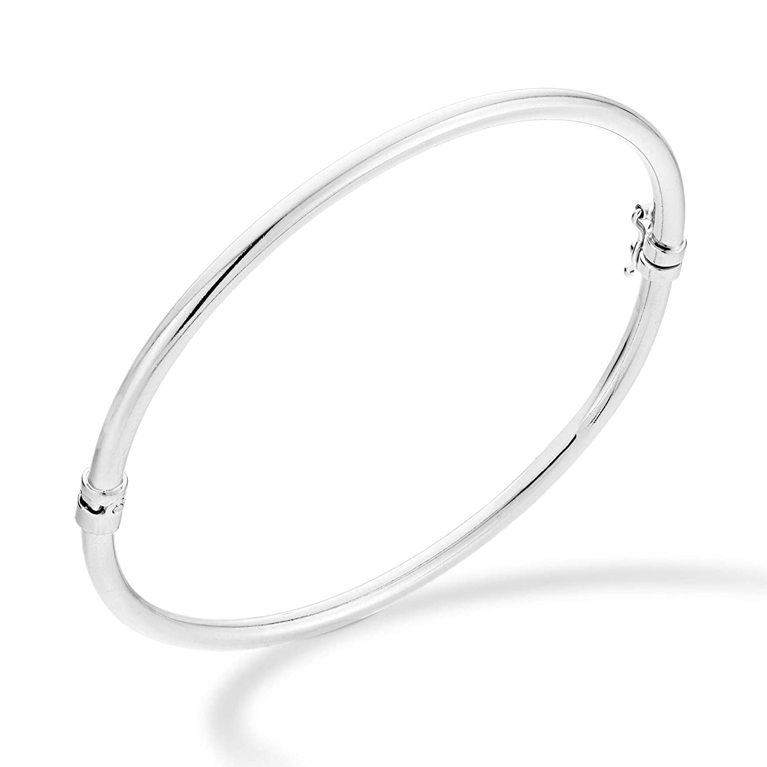 6.75 to 8 Inch Miabella 925 Sterling Silver Italian Hinged Bangle Bracelet for Women Girls Made in Italy