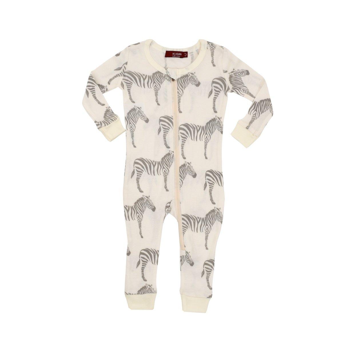 MilkBarn Organic Cotton Zipper Pajama - Grey Zebra (12-18 Months) by MilkBarn