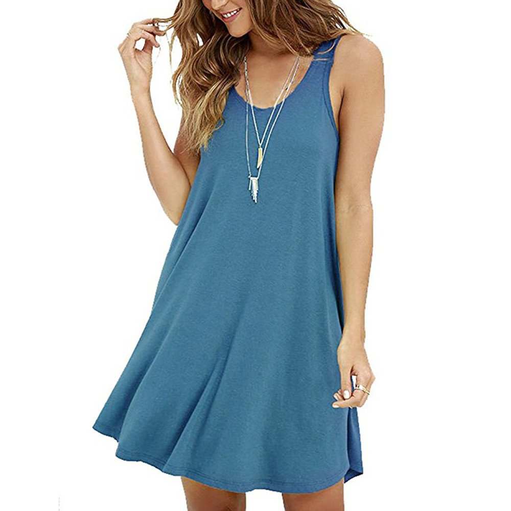 Women's Casual Solid Sleeveless Strapless Mini Dress Summer Loose O-Neck A-Line Shirt Camis Dresses Beach Sundress Blue
