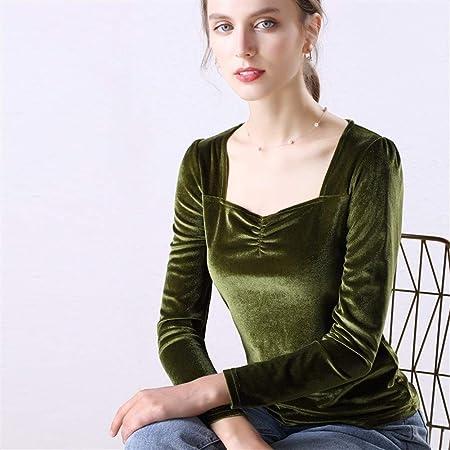 Lijincheng Camisa Blusa de Terciopelo Camisas de Mujer Manga Larga Cuello en V Básica Señora Cálida Vintage Blusas Femme Tops (Color : Green, Size : XL): Amazon.es: Hogar