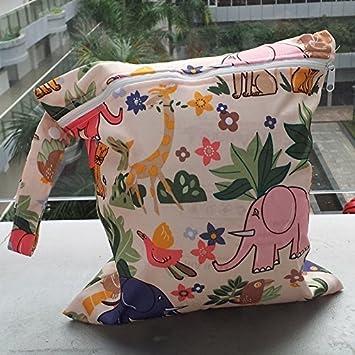 LAMEIDA Bolsa de Pa/ñales con Cremallera Impermeable con Dibujo de Animales para Cambio de Pa/ñales Usados de Beb/é para Mam/á