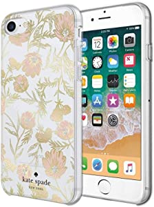 kate spade new york Cell Phone Case for iPhone 8/7/6/6s - Multi Blossom Pink/Gold with Gems