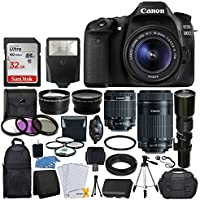 Canon EOS 80D DSLR Camera Body + Canon EF-S 18-55mm + Canon EF-S 55-250mm Lens & Telephoto 500mm f/8.0 (Long) + Wide Angle Lens + 58mm 2x Lens + Macro Filter Kit + 32GB Memory Card + Accessory Bundle Benefits Review Image