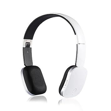 LQQAZY Auriculares Bluetooth Auriculares Inalámbrico Bajo Video Teléfono Celular/TV / Computadora Auriculares,White