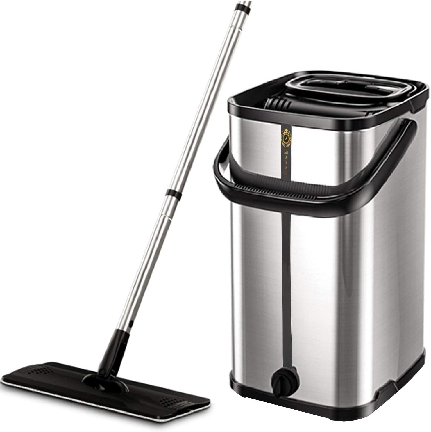 Squeeze Flat Floor Mop and Bucket Set, Stainless Steel Bucket and Handle, 2 Washable & Reusable Mop Pads, Professional Home and Kitchen Cleaner for Hardwood, Laminate, Tiles