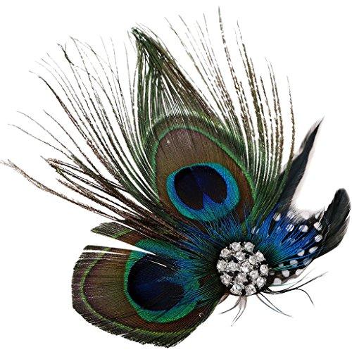 TAUT Women Cute Wedding Party Peacock Feather Hair Clip Headwear (Peacock Wedding Colors)