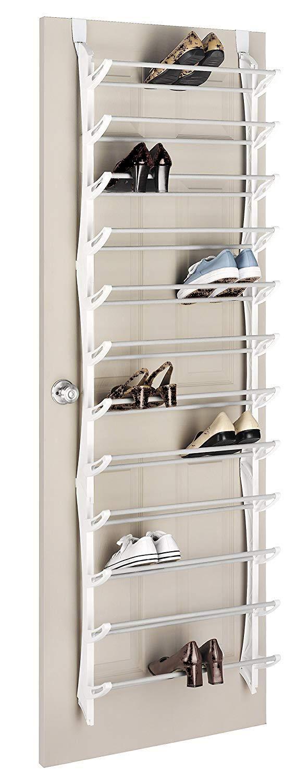 Whitmor Over The Door Shoe Rack - 36 Pair - Fold Up, Nonslip Bars (36-Pair (Set of 2)) by Whitmor