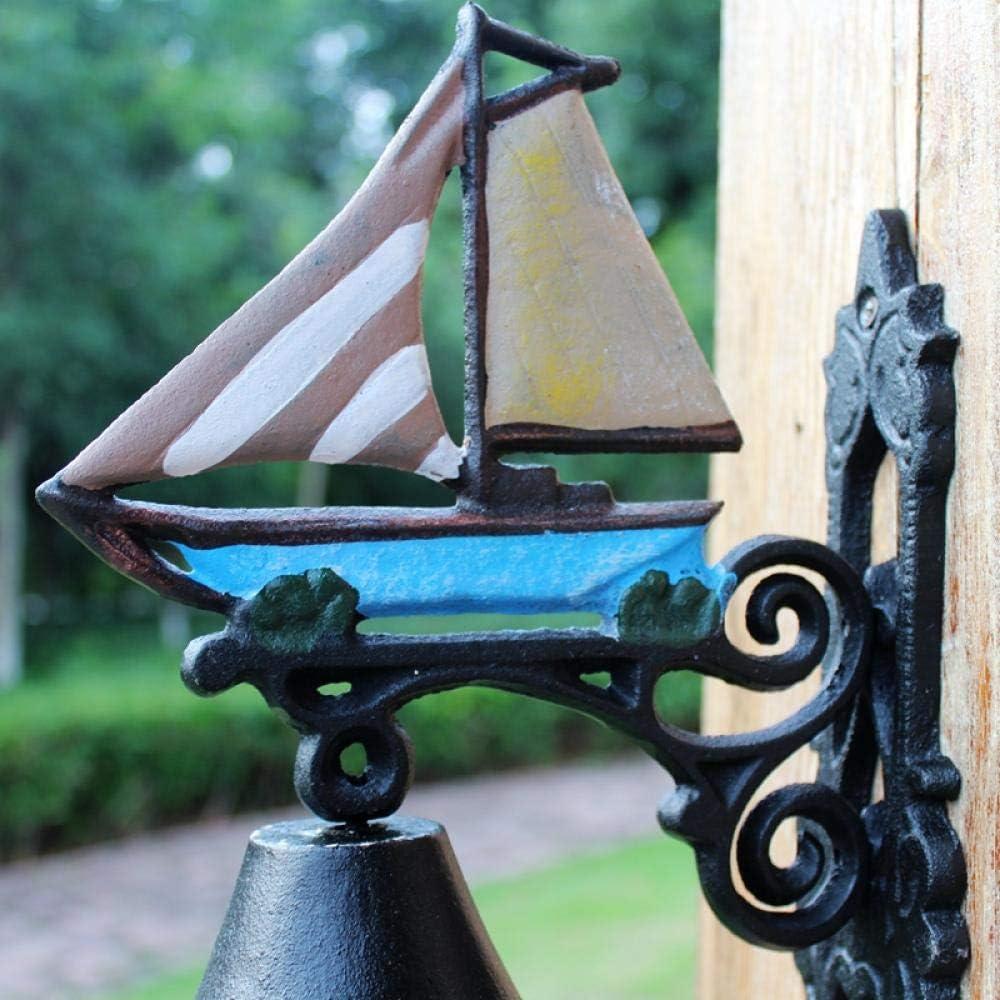 TOORY mural Cadeau Style M/éditerran/éen en Fonte Artisanat Marine Nautique Fer Forg/é Jardin Jardin D/écoration Porte DEntr/ée Cloche Voilier