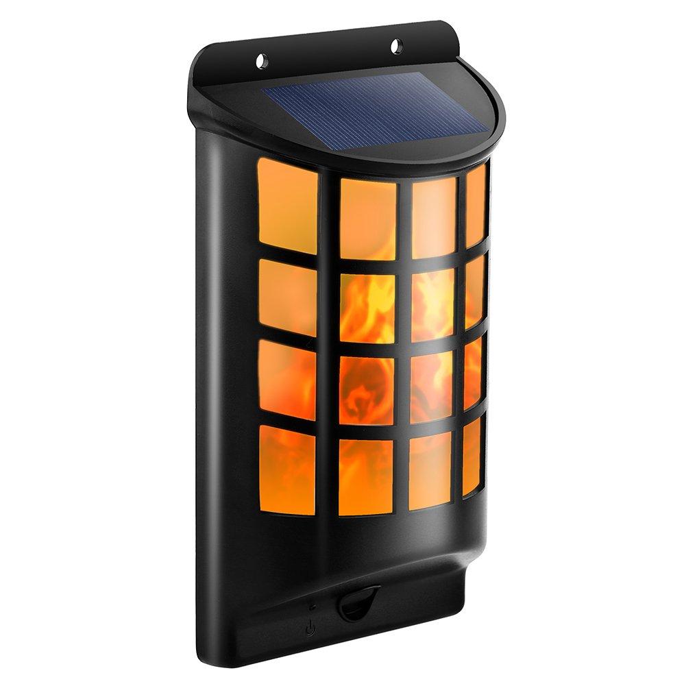 TomCare Solar Lights Waterproof Flickering Flames Wall Lights Outdoor Dark Sensor Auto On/Off Solar Powered Wall Mounted Night Lights Lattice Design for Garden