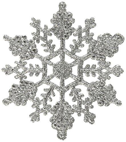 Vickerman Plastic Glitter Snowflake, 4-Inch, Silver, 24 Per Box -