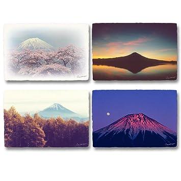 Amazon 和紙 ポストカード 「富士山の四季」 4枚セット 絵葉書