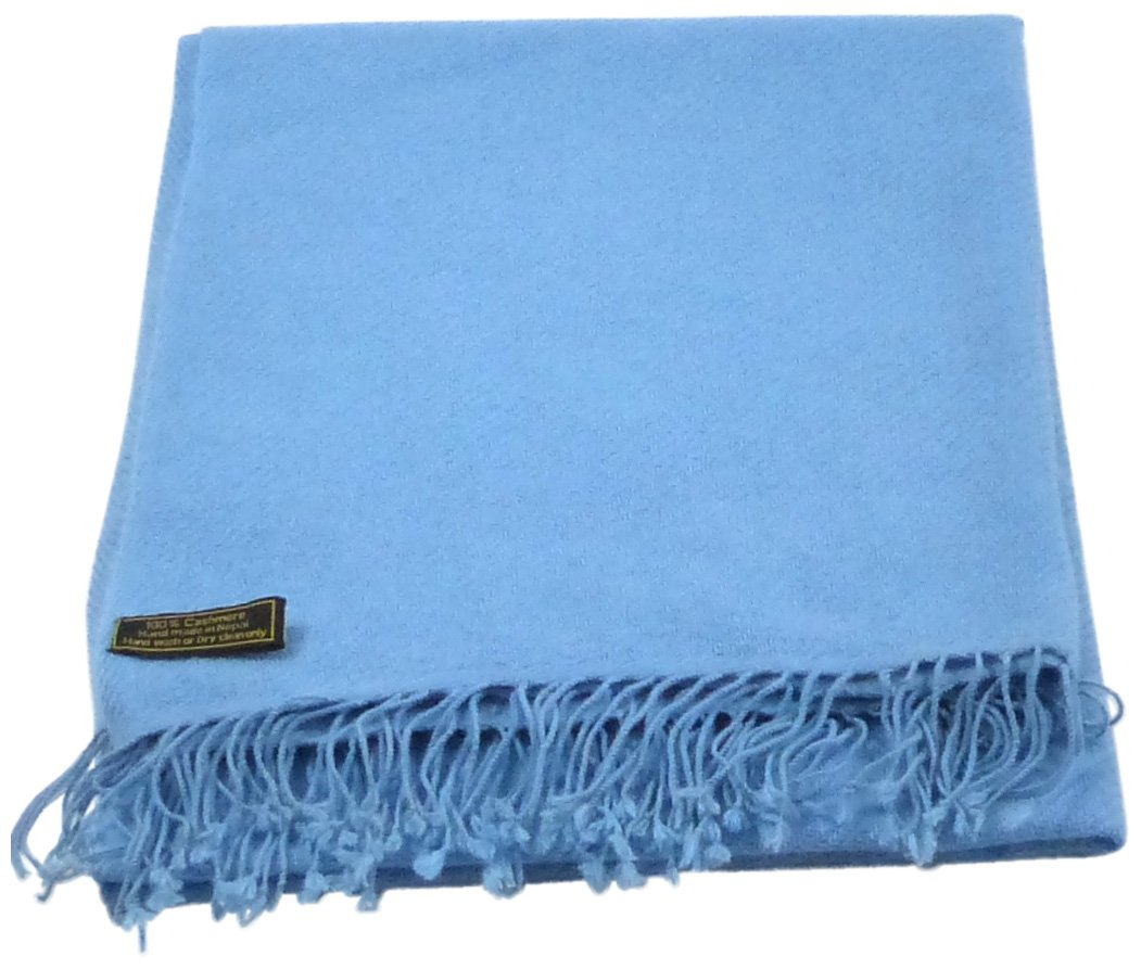 Baby Blue High Grade 100% Cashmere Shawl Scarf Hand Made in Nepal CJ Apparel NEW by CJ Apparel