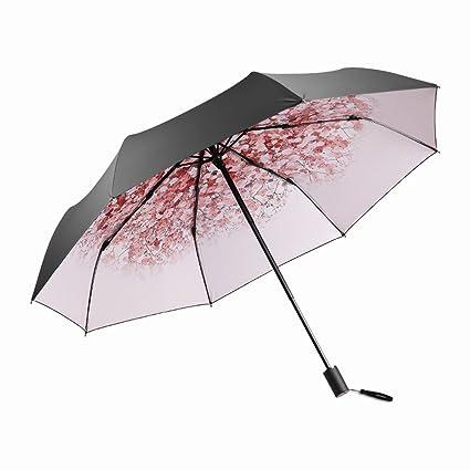 Shirleyle Sombrilla Paraguas Mujer Paraguas Plegable Negro Superficie Exterior Protección UV Paraguas Parasol Protector Solar Portátil