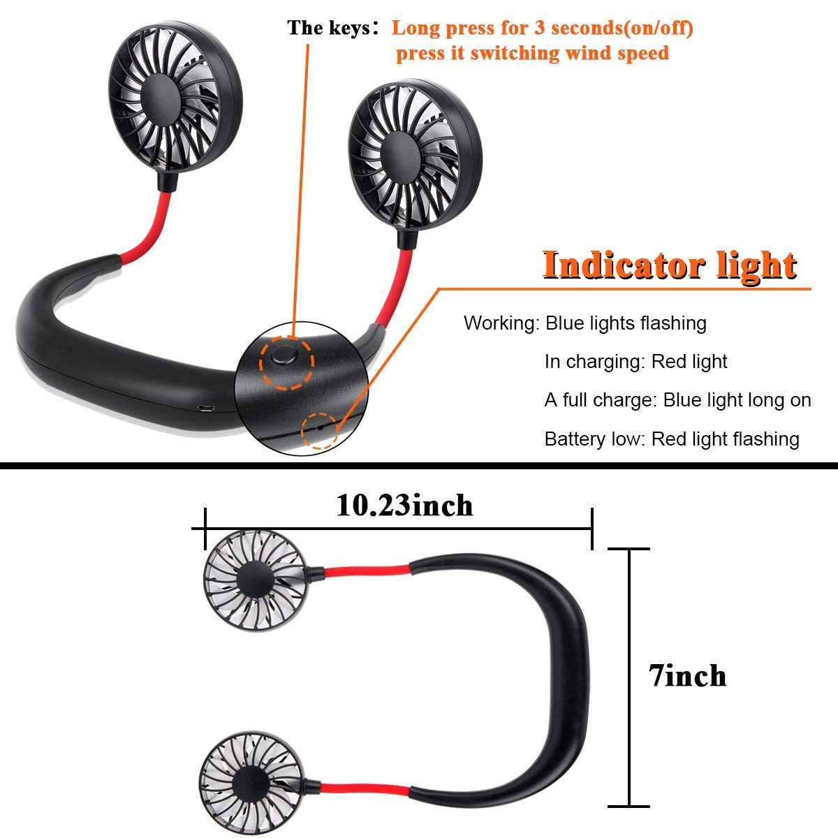 Edal Portable Fan Hand Free Small Personal Mini USB Fan 1200mAh Rechargeable Battery Operated Headphone Design Wearable Neckband Fan Necklance Fan Cooler Fan with Dual Wind Head for Traveling Outdoor Office Room