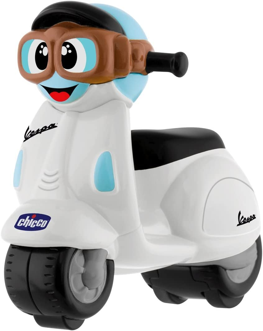 Chicco - Mini moto Vespa Turbo Touch, con carga por retroceso, color blanco