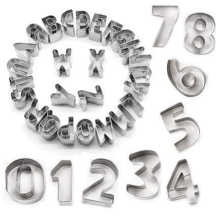 STARUBY Juego de 34 moldes para Galletas, diseño de Letras y ...