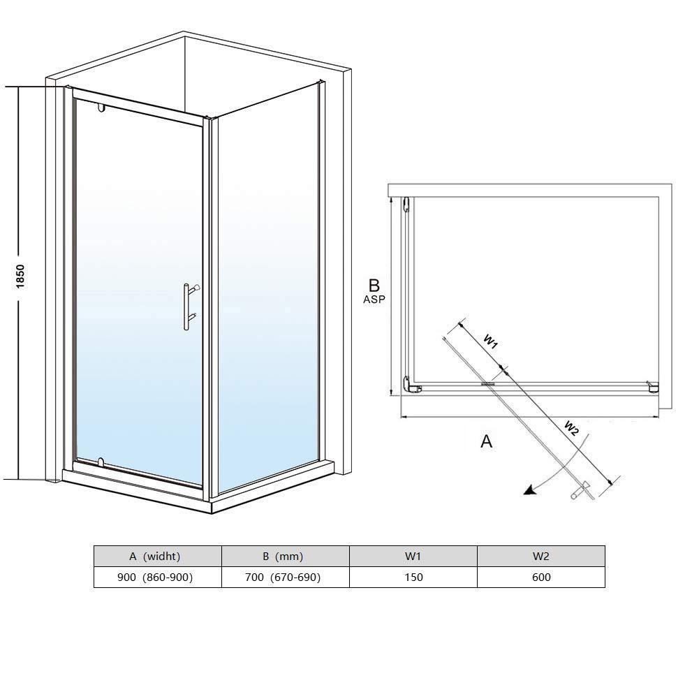 SIRHONA Cabine de douche 70x80x185 cm Porte pivotante en verre securit
