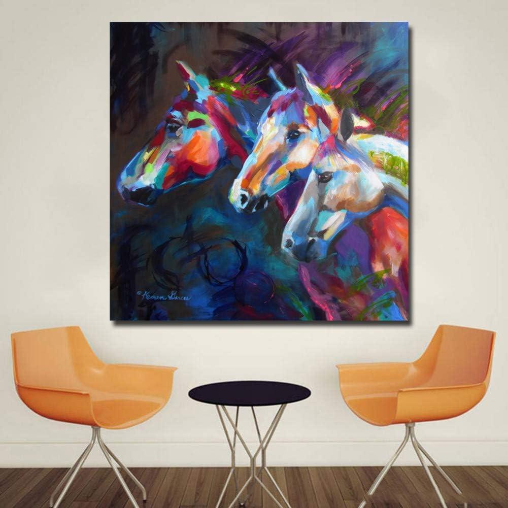 YOHAWOD Impresión de la Lona sin Marco de impresión Fotos Lienzo Pintura Art Prints Animal Tres Colorido Abstracto Cabeza de Caballo Arte de la Pared Cuadros Decoración del Hogar Pinturas para la Vi