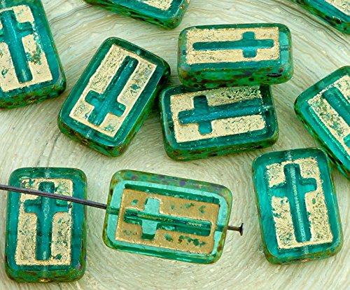 2pcs Picasso Crystal Aquamarine Green Turquoise Gold Rectangle Flat Table Cut Cross Religious Rosary Crucifix Halloween Czech Glass Beads