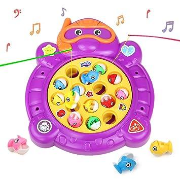 Hcheng Juego De Pesca De Mesa Juguete Musical Educativo Peces Rotativos Coloridos Juguetes Electricos Para Ninos Ninas 3 4 5 Anos