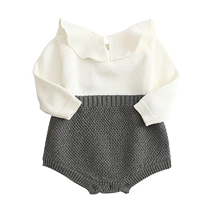 QIANMEI Newborn Baby Girls Knitting Bodysuit Outfits Warm Long Sleeve  Ruffles Sweater Romper f0979dd8c