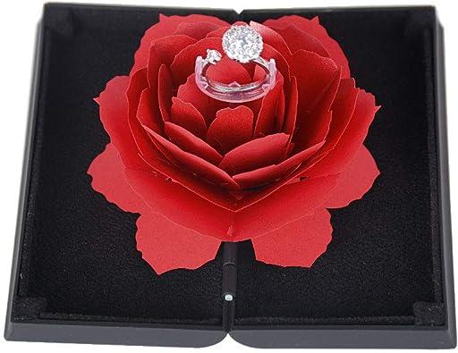 BUONDAC Caja para Anillos con Flor de Rosa Estuche Porta de ...