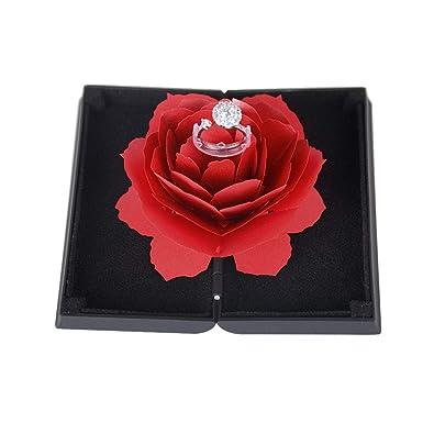 BUONDAC Caja para Anillos con Flor de Rosa Estuche Porta de Anillo Joyeria Alianza para Propuesta de Matrimonio Compromiso Boda el día de San Valentín ...