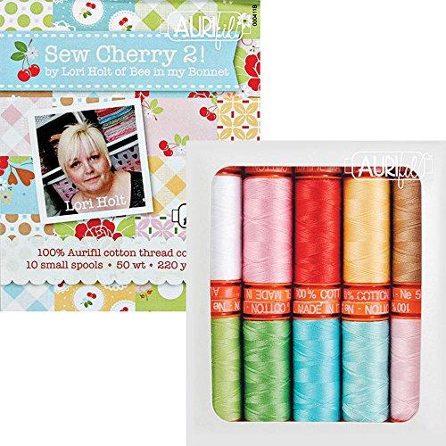 Lori Holt Sew Cherry 2 Aurifil Thread Kit 10 Small Spools 50 Weight LH50SC10 by Aurifil