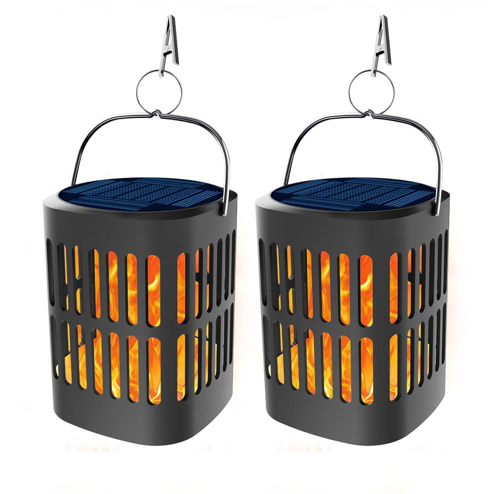 Bebrant Solar Lanterns Lights Flickering Dancing Flames Hanging Lanterns Solar Powered and USB Charging Flame Lights Outdoor Waterproof Decoration Lighting Dusk to Dawn Auto On/Off (2 Pack)
