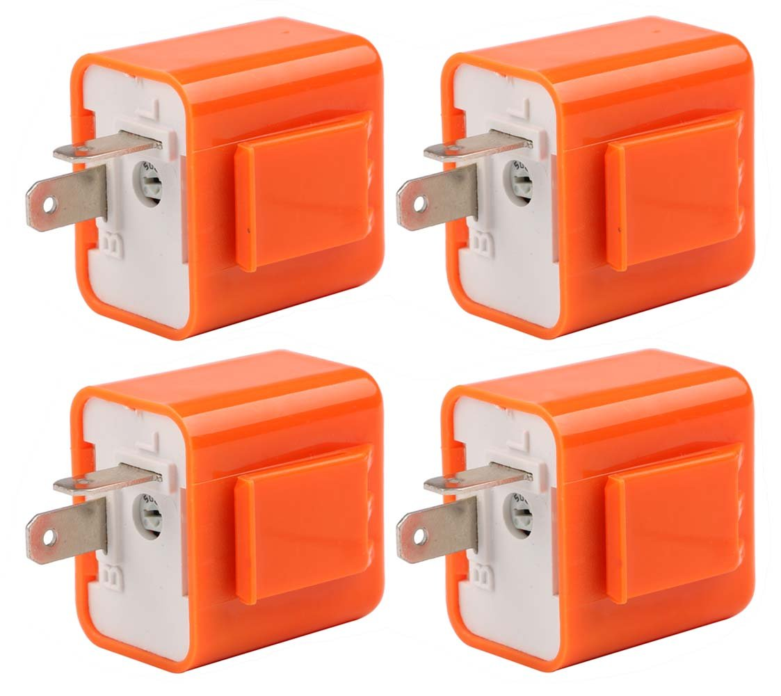Sdootauto 4 Pcs 12V 2-Pin Motorcycle Adjustable Flasher Relay for Led Turn Signal Hyper Flash Speed Adjustable Indicator
