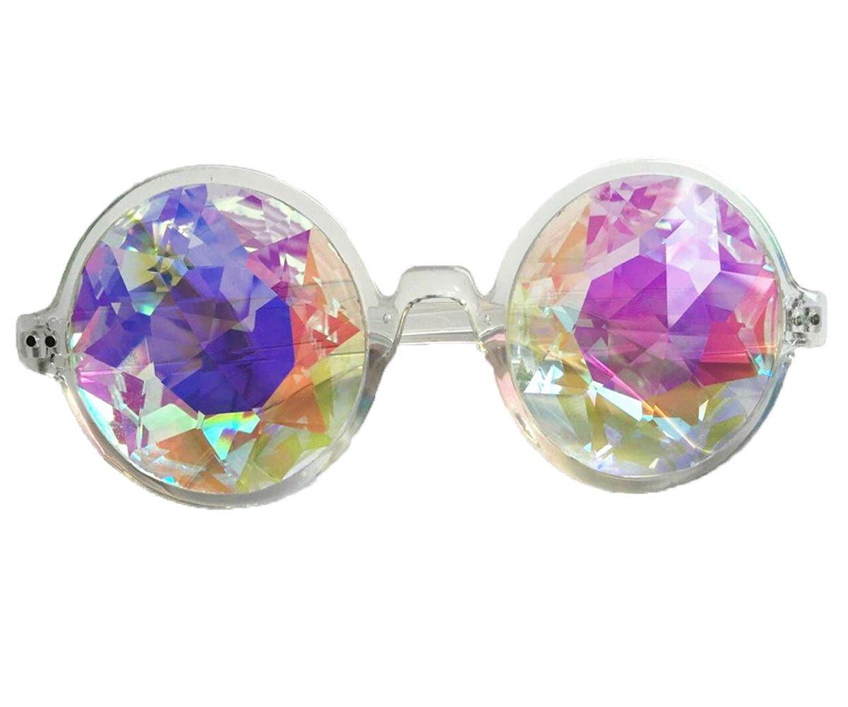 FLORATA Rainbow Prism Kaleidoscopic Halloween Goggles Real Glasses Crystal Lenses Chrome Kaleidoscope Steampunk Goggles